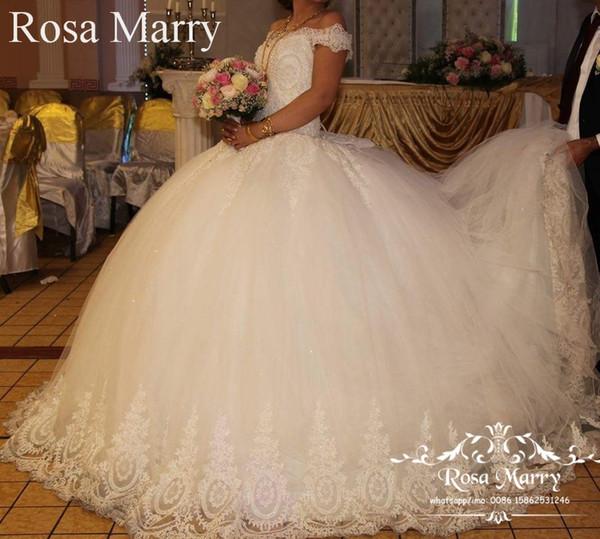 Luxury Vintage Lace Ball Gown Wedding Dresses 2020 Off Shoulder Plus Size Beaded Cheap Arabic Dubai Victorian Vestido De Novia Bridal Gowns