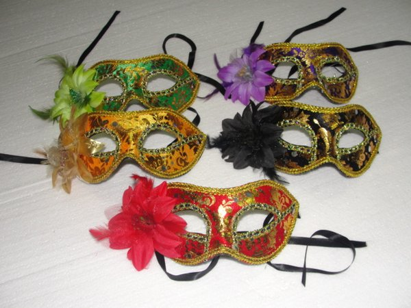 Hot sales Exquisite flathead Gold velvet Feather Flowers Mask Masquerade Lily Flower Princess Mask For Lady Mix Colors 10pcs/lot