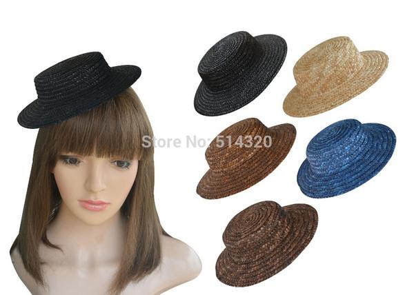 All'ingrosso-A224 10pcs Mini Top Straw Hats Craft Fare forniture Fascinator Modisteria