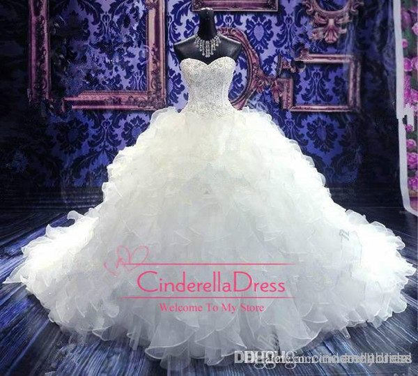 2017 Cheap Luxury Beaded Embroidery Wedding Dresses Princess Gown Sweetheart Corset Organza Cathedral/Church Ball Gown Wedding Dresses