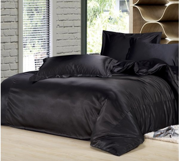 Custom Size Solid Color Bedding Set Black Silk Satin Bedding Sets King  Queen Full Twin Size