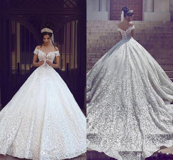 Großhandel 2018 Heiße Arabische Brautkleider A Line Cap Sleeves ...