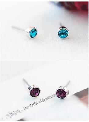 best selling Ear Stud Earrings Charm Shinny Rhinestone Earring Jewelry Accessories Multicolor Simple Austrian Crystal Golden Silver Earings 5mm Free DHL