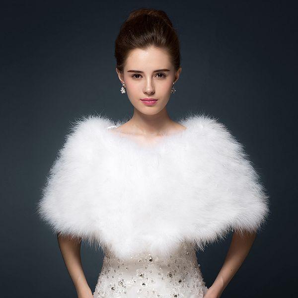 top popular Luxurious Ostrich Feather Bridal Shawl Fur Wraps Marriage Shrug Coat Bride Winter Wedding Party Boleros Jacket Cloak White Khaki 100*30 cm 2021