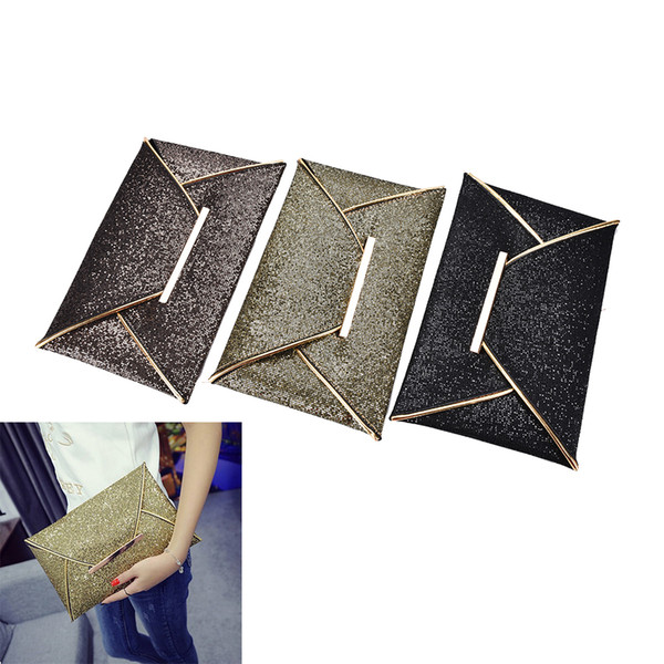 top popular Wholesale- 1PC 2017 shiny envelope clutch wedding bags for women evening party bag glitter ladies hand bags black purse handbag 2020