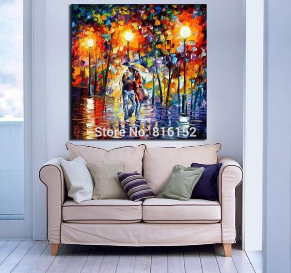 Acheter Date Amoureux Sous La Pluie Roman Kiss 100% Hanpainted Peinture À  L\'huile Sur Toile Palette De Couleurs Mur Photos Pour Hôtel Bureau Home ...