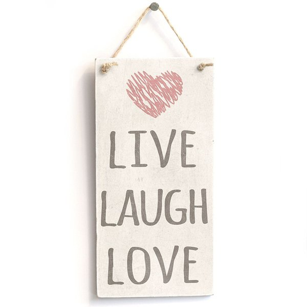 Live Laugh Love - Cute Home Decor Sign - Targa rustica per porta in PVC