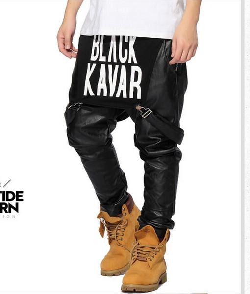 Wholesale-leather Pants Fashion Trousers PU Faux Leather Men Clothes Hip hop Pants Swag Jogger Kanye West ktz Pyrex hba pant