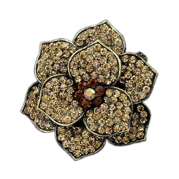 2 Inch Vintage Style Antique Gold Plated Brown Crystal Rhinestone Crystal Diamante Rose Flower Wedding Brooch Pins