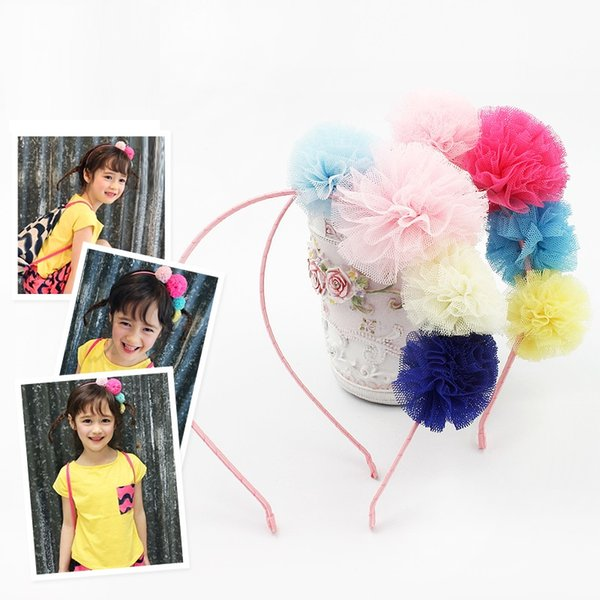 Multi -Color Gauze Ball Headband Beatiful Tulle Hairband Girl Mesh Summer Head Wear Fresh Pretty Classic Children Hair Accessory