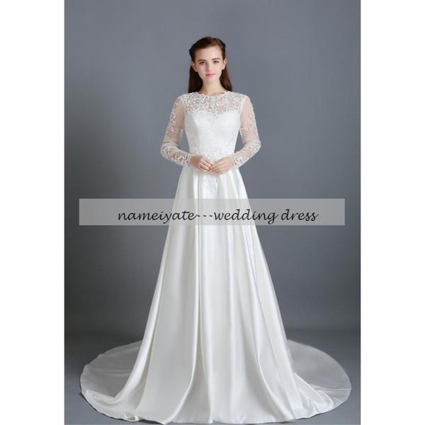 2017 White Lace A Line Crew Zipper Cattedrale treno manica lunga Beach Dress of Bride Applique Abiti da sposa Abiti da sposa