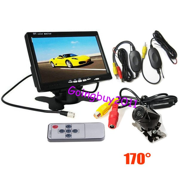 "7"" LCD Monitor Car Rear View Kit + Wireless Mini Metal Car Reversing Camera 170º 10pcs/lot"
