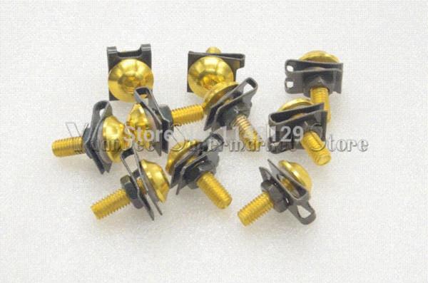 Gold 6mm Universal-CNC-Motorradzubehör Verkleidungsarbeit Schrauben für BMW S1000RR R1200R F800GS K1300 S / R / GT versandkostenfrei