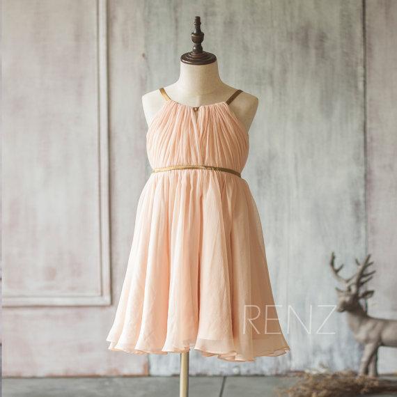 2020 Peach Junior Bridesmaid Dress Spaghetti Strap Flower Girl Dress a line Chiffon Baby Girl dress knee length