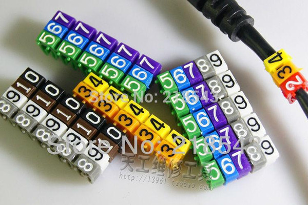 100 pcs/pack Cable Clips Plastic Number Tag (0~9) 10 Colors Soft elastic PVC Wire Clip C Shape Cable Marking Label Clamp