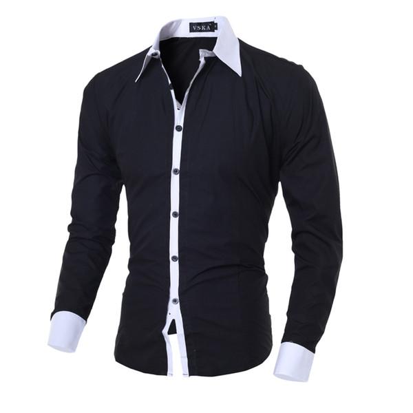 Männer Hemd Schwarz Weiß Männlich Langarmshirts Beiläufige Feste Multi-Button Hit Farbe Slim Fit Dress Shirts M-2XL