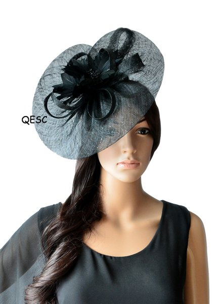 top popular NEW ARRIVAL.Big Sinamay fascinator hat with feather flower for Melbourne cup,kentucky derby wedding.fuchsia,coral,black 2019