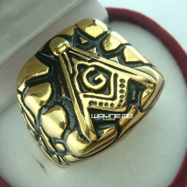 (r254) Masonic Ring Stainless Steel Gold Filled Wedding Top Party Size 10-12