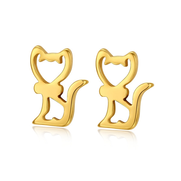 18k gold cat stud earrings for women stainless steel punk rock jewelry wholesale, Golden;silver