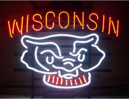 "Wisconsin Football Badger Handmade Custom Real Glass Tube Neon Sign Bar KTV Club Store Game Sport Decoration Display Neon Signs 17""X14"""
