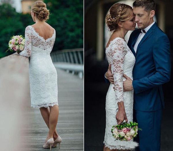 2019 Vintage Lace Short Wedding Dresses Sheath Long Sleeve Knee Length Country Bridal Gown Cheap Robe Mariage