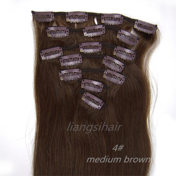 "Straight Clip in Hair Extensions 7A 15""-26"" 7pcs 4# Medium Brown Real Brazilian Indian Malaysian Peruvian Virgin Remy Human Hair Bundles"