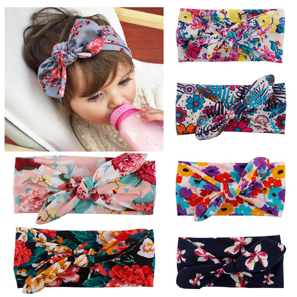 best selling Bohemian Headband Cotton Girl Baby Bowknot Flower Turban Twist Head Wrap Twisted Knot Soft Hair Band Kids Headbands Bandanas