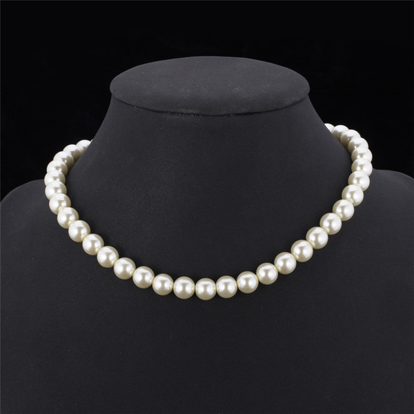 best selling High Quality Synthetic Pearl Necklace for Women 2015 New Trendy Resizable Luxury White Black Beaded Necklace