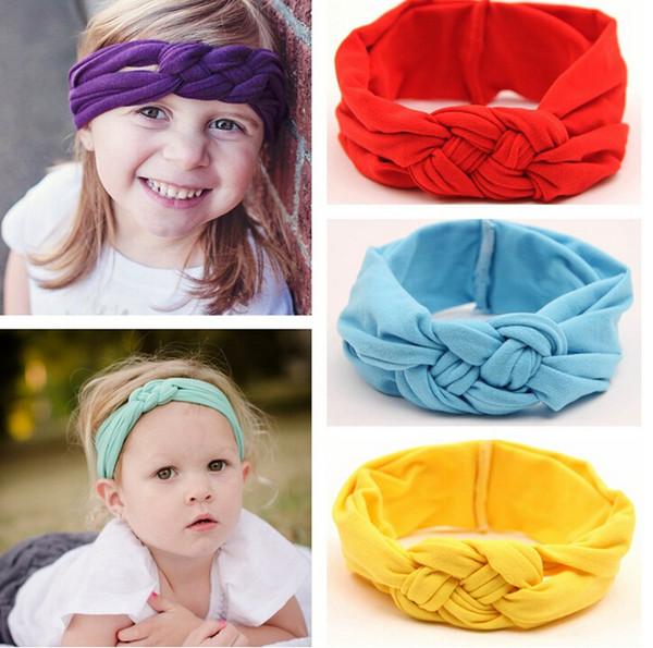 le bambine intrecciate nodo intrecciato turbante fascia elastica per capelli testa fasce avvolge fasce accessori scrunchy turbante 2015