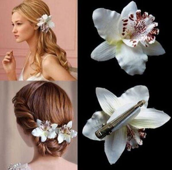new fashion Donna Ragazza Bohemia Bridal Flower Orchidea Leopard Hair Clip Forcine Barrette Decorazione di cerimonia nuziale Accessori per capelli Spiaggia Hairwear