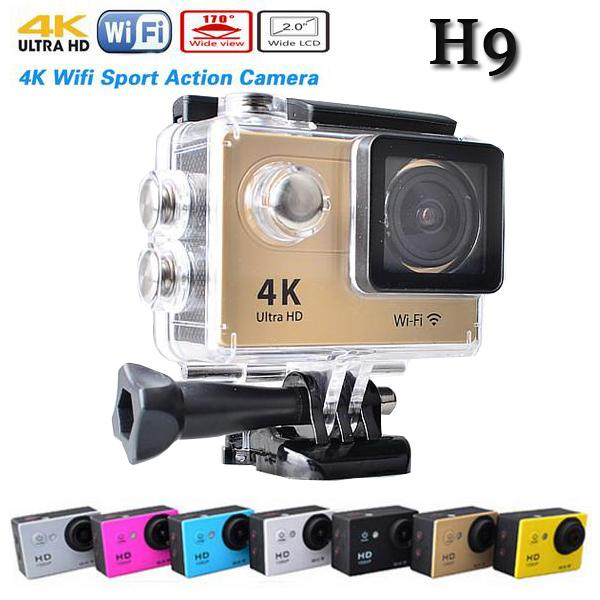 Original H9 Wifi Ultra HD 4K Video 170degrees Wide Angle Waterproof Sports action Camera 2-inch Screen 1080p 60fps wifi sport Camer