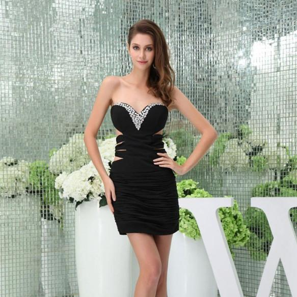 2016 Litttle Black Cutaway Sides Cocktail Dresses Party Homecoming Dresses Beaded Crystal Sweetheart Neckline Occasion Club Wear Dresses