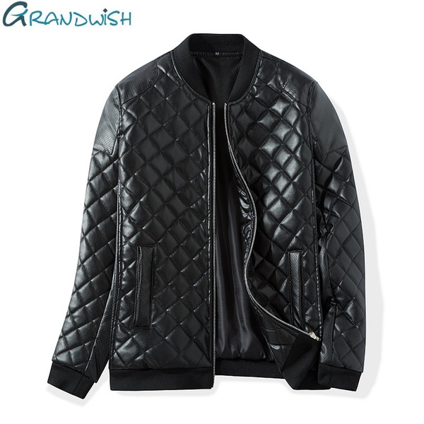 Wholesale- Grandwish Winter Warm Thick Leather Jacket Men Stand Collar Padded PU Leather Jacket for Men Men's Jacket Quilt Jacket,DA307