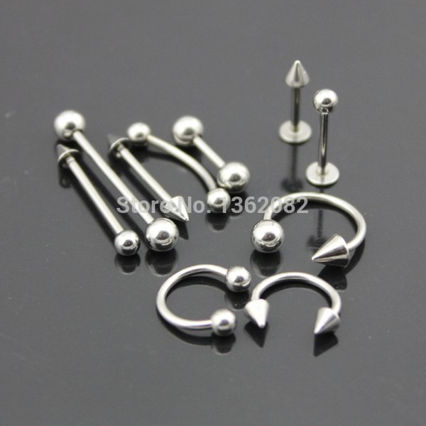 Wholesale 10pcs 316L Stainless Steel Ear Stud Navel/Nipple/Nose/Lip/Tongue Rings Bar Barbell Body Piercing Jewelry ME92