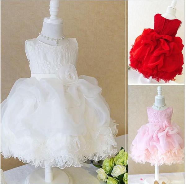 Princess Flower Girl Dresses For Wedding Patry Brand Rose Lace Tutus Little Baby Girls Dress White Children's Clothing