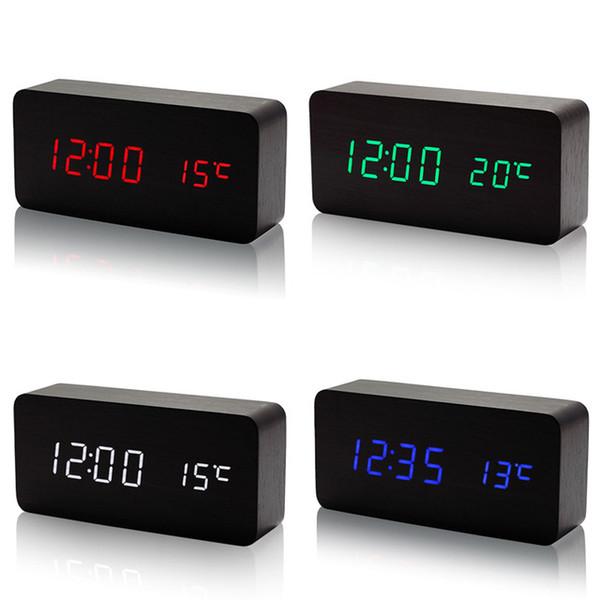 Nuevo LED Alarma de madera con temperatura Control de sonidos USB Pantalla LED Relojes de mesa electrónicos de escritorio