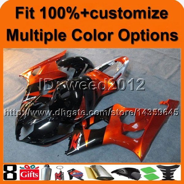 23colors+8Gifts Custom Injection mold ORANGE GSX-R1000 03-04 motorcycle cowl for Suzuki K3 GSXR1000 2003 2004 bodywork ABS Plastic Fairing