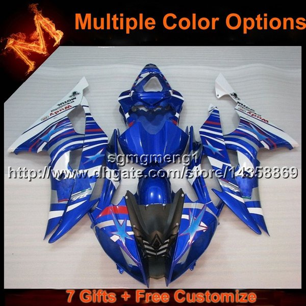 23colors+8Gifts BLUE motorcycle cowl for Yamaha YZF-R6 08-15 YZFR6 2008 2009 2010 2011 2012 2013 2014 2015 ABS Plastic Fairing