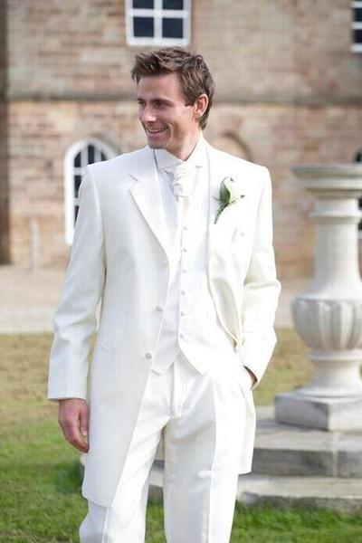 white tuxedos for men ivory men suits 3 pieces wedding suits for men suit notched lapel groom wedding suits jacket+pants+vest+tie