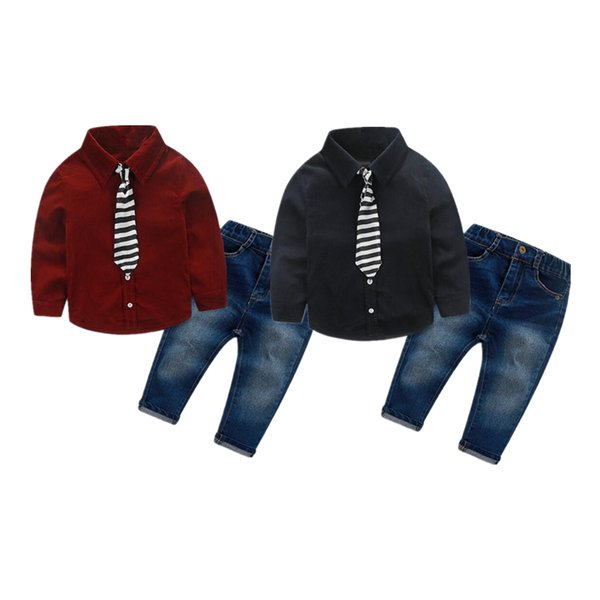 Kid Boy Hochzeit Bankett Gentleman Anzug 3 Stücke Sets Shirt + gestreifte Krawatte + Hosen Langarm 2 Farben Jeans Kinder Kleidung Baby Outfits 1-6T