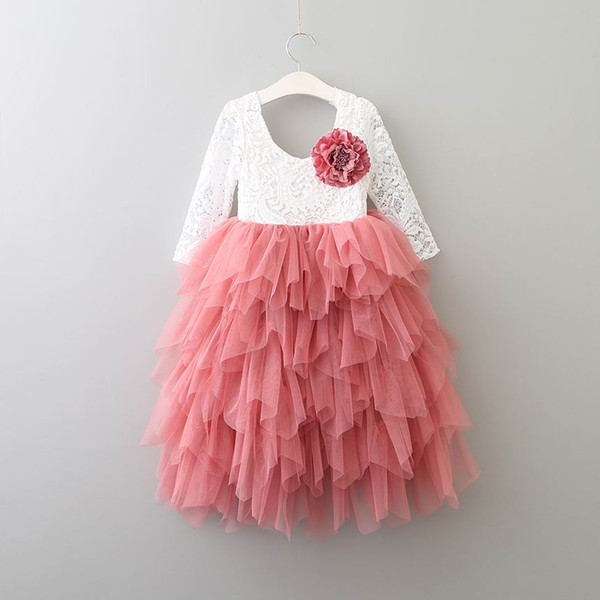 Retail Girls Lace Dress Long Sleeve Pearl applique Tiered Tulle Gauze Long Party Princess Dress Children Clothing 2-7Y E15169