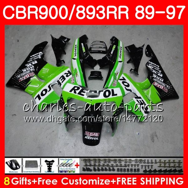 CBR 893RR For HONDA CBR900RR Repsol green 1989 1990 1991 1992 1994 1995 1996 1997 9NO6 CBR893RR CBR893 RR 89 90 91 92 93 94 95 96 97 Fairing