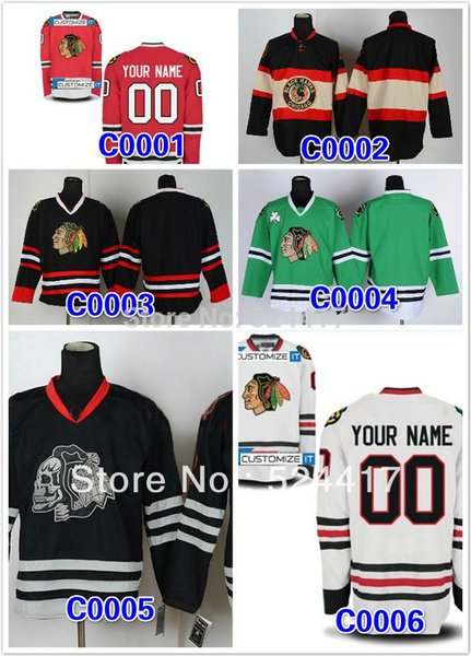 30 Teams-Wholesale Custom Chicago Blackhawks Jersey men's ice hockey jersey put your name and number hockey shirt epacket free shiping