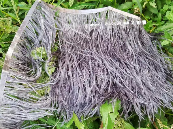 O Envio gratuito de 10 metros de penas de avestruz cinza guarnição franja no Cetim Header 5- 6 polegada de largura para casamentos fornecer fornecimento de festa