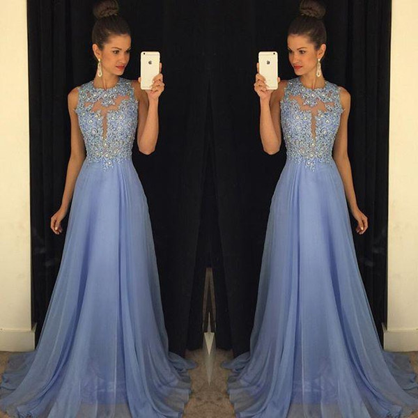 best selling Lavender Prom Dresses Lace Applique Beads Formal Long Bridesmaid Dresses A Line Crew Neck Zip Back Chiffon Party Gowns
