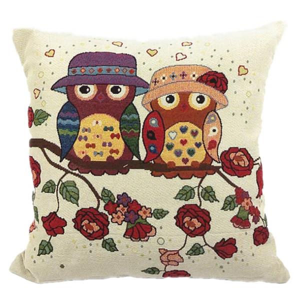 Atacado-1 peças coruja quadrado novo composto mistura de linho Fronha Throw Body Pillow Bed Home Textile LW204