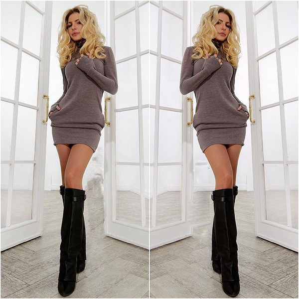 Wholesale-2015 new year women warm dress winter clothes for women dress fall women's Clothing sexy office dress