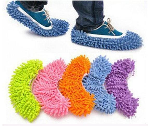 50 Pairs (100 adet) Toz Şönil Mikrofiber Paspas Terlik Ev Temizleyici Tembel Zemin Temizleme Ayak Ayakkabı Kapak DHL tarafından Ücretsiz kargo