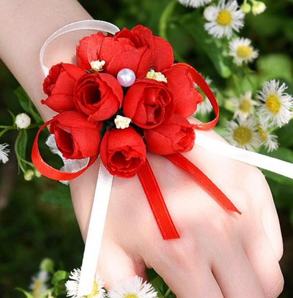 Flor de la muñeca nupcial de la flor artificial Fiesta de bodas Decoración de cumpleaños Flor de la tela de seda creativa coreano con perla