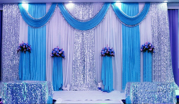 3M*6M Milk White Wedding Backdrop Curtains lake blue Swag With Silver Sequin Fabric For Wedding Centerpieces Decor Supplies free shipping